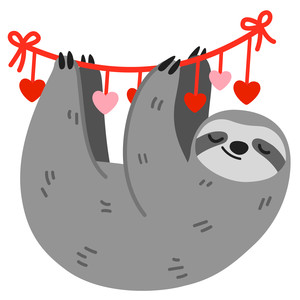 sloth hanging on heart banner