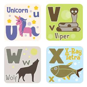 animal alphabet cards u to x