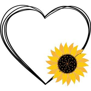 sketch heart sunflower frame