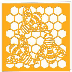 floral bees honeycomb card