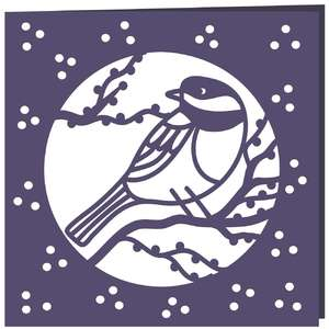 chickadee bird moon card