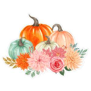 four watercolor pumpkins with flower bouquet