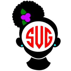 afro girl side puff monogram