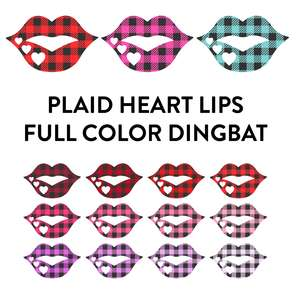 heart plaid lips full color dingbat