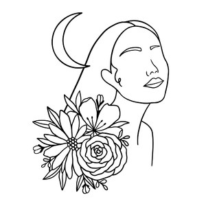 female silhouette with flowers and moon