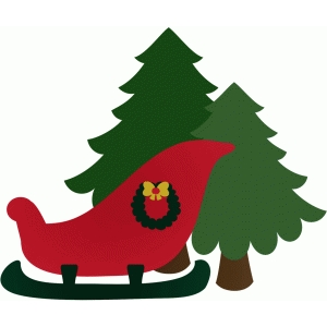 santas sleigh and trees