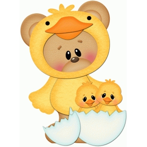 easter bear with little chicks pnc