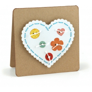 square heart button stitching card