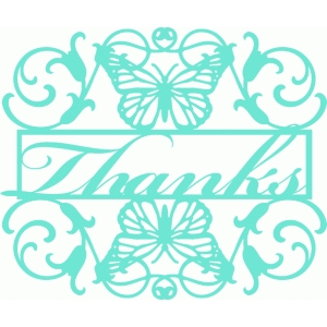 thanks butterfly flourish frame