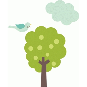 spring tree, bird and cloud