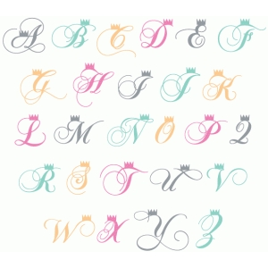 crown fancy monogram alphabet