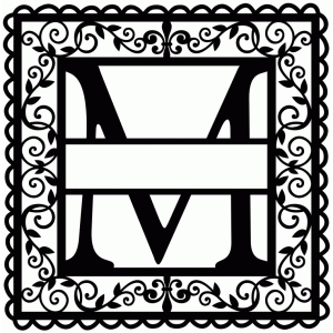 wrought iron vine initial m