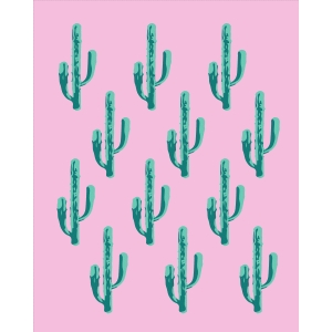 abstract cactus print and frame