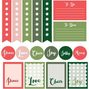 peace, love & cheer planner stickers