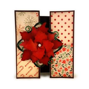 poinsettia a7 double bi fold card