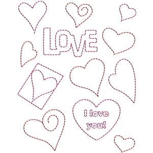stitching templates - love