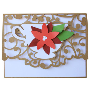 poinsettia teacup card