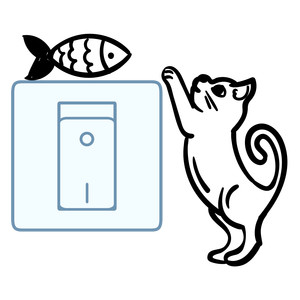 light switch sticker design - cat and fish