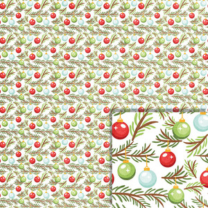 christmas ornaments on branch background paper