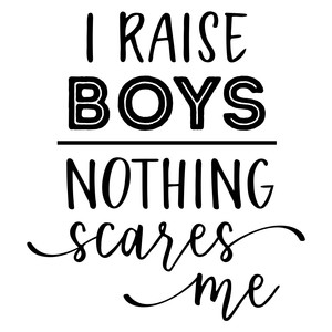 i raise boys - nothing scares me phrase