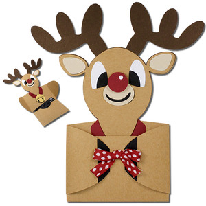 boy reindeer hug gift card holder