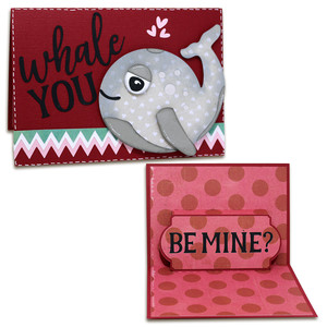 whale you be mine pop-up card