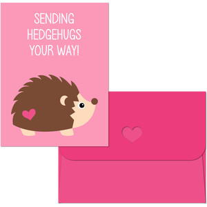valentine print and cut hedgehog