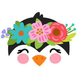 penguin with flower crown