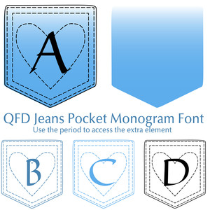 qfd jeans pocket monogram font