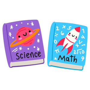 kawaii math and science school textbooks