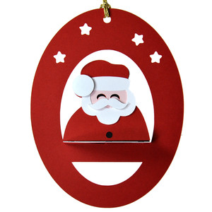 santa 3d oval hanging ornament