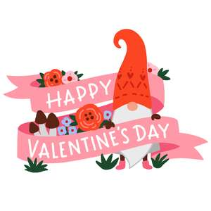 gnome happy valentine's day banner