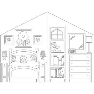 coloring book dollhouse flower bedroom