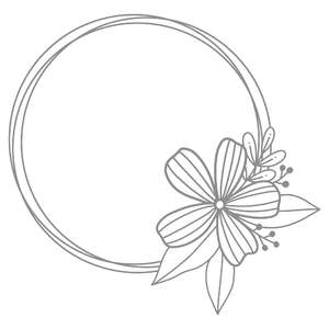 flower circle monogram frame