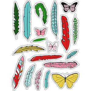 ml christmas feathers stickers