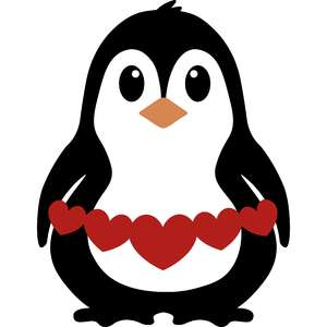 valentine penguin with hearts