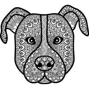 pitbull dog zentangle mandala