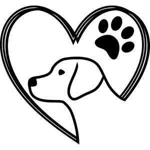 dog and paw heart lines