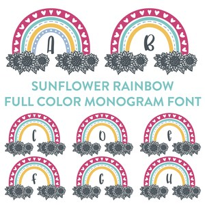 sunflower rainbow monogram full color font