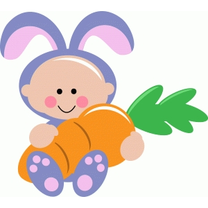 cute easter bunny baby holding carrot