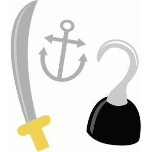 pirate sword, hook and anchor