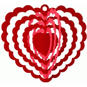 3d scalloped heart spinner mobile