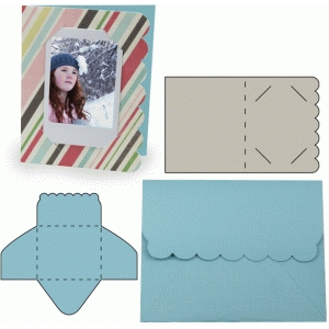 instant photo scallop card and envelope