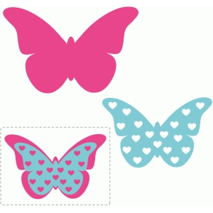 heart layered butterfly embellishment