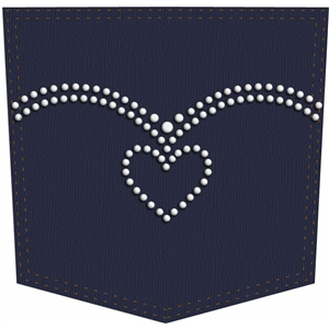 heart rhinestone pocket