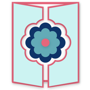 gatefold card - large layered flower