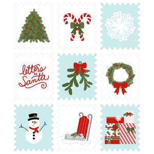 christmas stamps sticker set