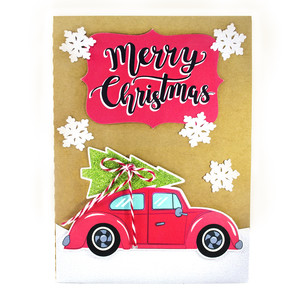 car and christmas tree card