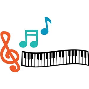 music notes & keyboard