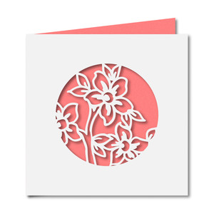 floral cutout square card